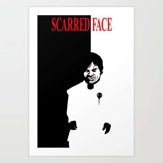 Scarred Face Art Print