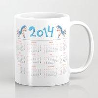 calendar Mugs featuring 2014 horse calendar by Katja Main