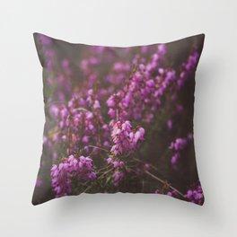 Purple Little Flowers in My Garden Throw Pillow