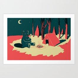 Toasty Bear Campsite Art Print