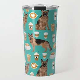 German Shepherd pet portrait service dog coffee lover pet portrait dog breeds Travel Mug