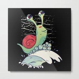 Funny Snail Metal Print