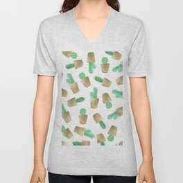 Hand painted watercolor green gold foil modern cactus  Unisex V-Neck
