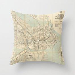 Vintage Downtown Boston Subway Map (1917) Throw Pillow