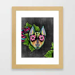 Min Pin Day of the Dead Miniature Doberman Pinscher Sugar Skull Dog Framed Art Print