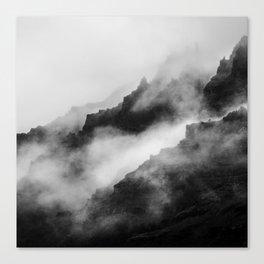 Foggy Mountains Black and White Canvas Print