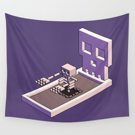 Familiar Face — isometric pixel artwork Wall Tapestry