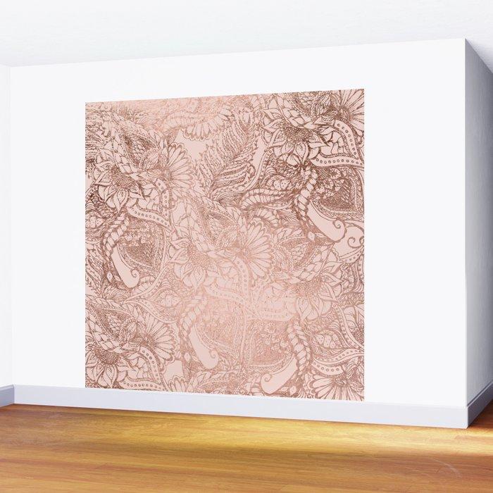 Modern rose gold floral illustration on blush pink Wall Mural
