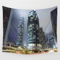 hong kong Wall Tapestries featuring Hong Kong-Sky Scrapper by Parrish