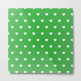 HEARTS ((white on shamrock)) Metal Print