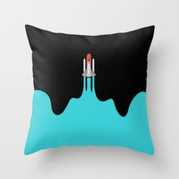 spaceship Throw Pillows featuring Spaceship by fortyfive