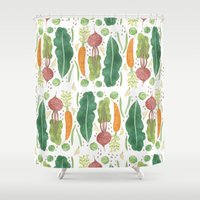 vegetables Shower Curtains featuring Garden Vegetables by Yardia