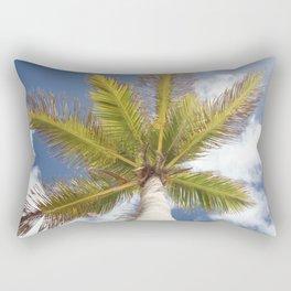Palm Tree from Below Against Blue Sky Rectangular Pillow