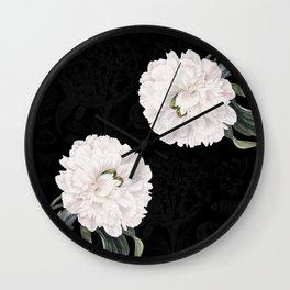 White Peony Black Chic Wall Clock