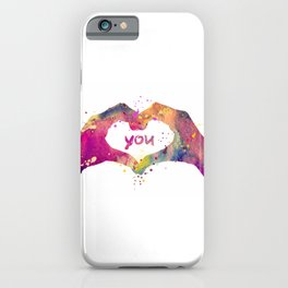 Heart Watercolor Art Print Love Hands Valentine's Day iPhone Case