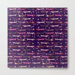 Dappled Dachshunds on Eggplant Purple Metal Print