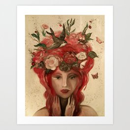 red haired green eyed Crimson Fairy with flowers butterflies and birds portrait Art Print