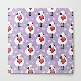 Blushing Sheep & Hearts Pattern Metal Print