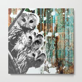 Rusty Owls in the Snow Metal Print