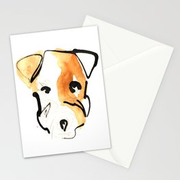 Black Ink and Watercolor Jack Russell Terrier Dog Stationery Cards