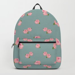 Pink Roses Repeat Pattern on Teal Backpack
