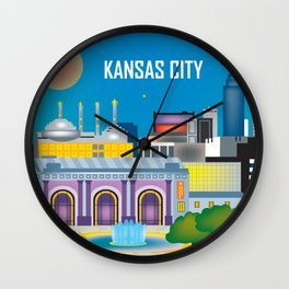 Kansas City, Missouri - Skyline Illustration by Loose Petals Wall Clock