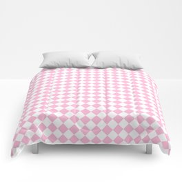 Small Diamonds - White and Cotton Candy Pink Comforters