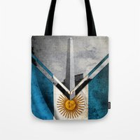 argentina Tote Bags featuring Flags - Argentina by Ale Ibanez