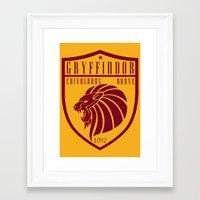 gryffindor Framed Art Prints featuring Gryffindor Crest by machmigo