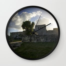 Sunrise Over Mayan Ruins Wall Clock