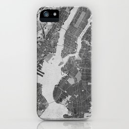 Vintage map of New York City in gray iPhone Case