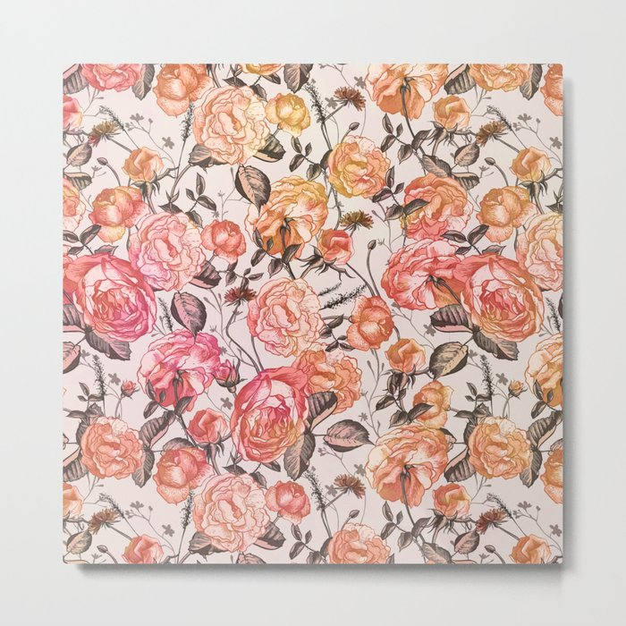 Vintage Floral Watercolor Pattern Metal Print