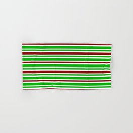 Christmas-Themed Green, White & Red Colored Lines/Stripes Pattern Hand & Bath Towel