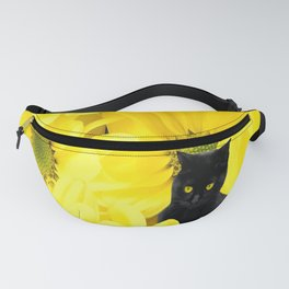 Black Cat Yellow Flowers Spring Mood #decor #society6 #buyart Fanny Pack