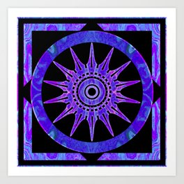 Starlit Purple Nights Abstract Mandala Artwork Art Print