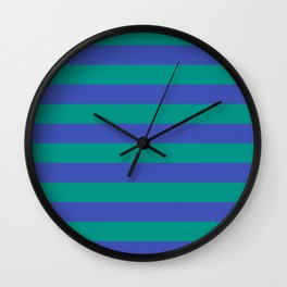 Even Horizontal Stripes, Teal and Indigo, L Wall Clock