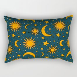 Vintage Sun and Star Print in Navy Rectangular Pillow