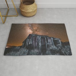 starry sky milky way building night june lake united states Rug