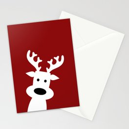 Reindeer on red background Stationery Cards