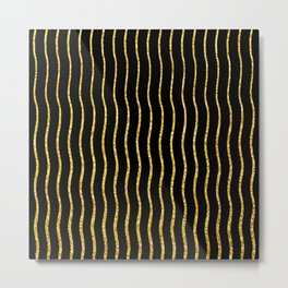 Art Deco Glitter-Gold Wavy Lines on Black Pattern Metal Print