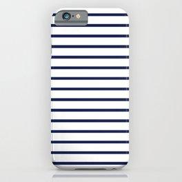 Horizontal Navy Blue Stripes Pattern iPhone Case