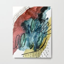 Motion: an abstract mixed media piece in muted primary colors Metal Print