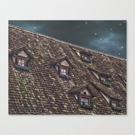 Roof of the Hotel oblique house Ulm Canvas Print