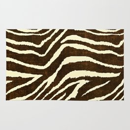 ZEBRA IN WINTER BROWN AND WHITE Rug