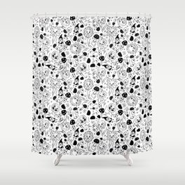 gnomes black and white Shower Curtain