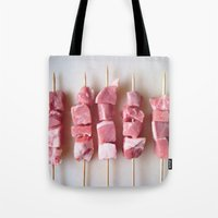 meat Tote Bags featuring Meat Meat Meat (3) by The Avant-Garden