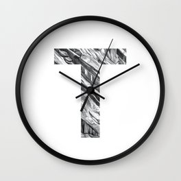 The Letter T- Stone Texture Wall Clock
