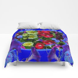 HOLLYHOCKS & MORNING GLORIES COTTAGE BLUE ART Comforters