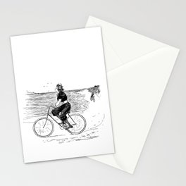 Beautiful girl ride bicycle on the beach - vintage black and white drawing illustration Stationery Cards