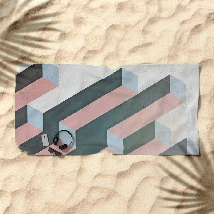 Linear Geometry Beach Towel